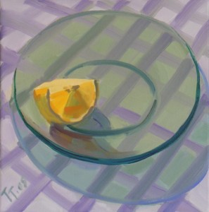 'Plate with Orange' 12x12
