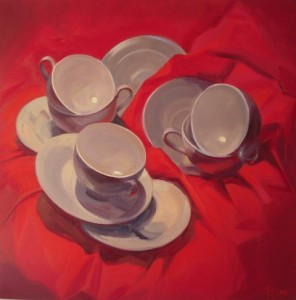 'Red and White' Oil 30x30