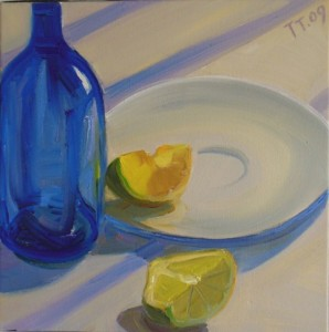 ''Still Life with Blue Bottle' 12x12