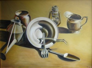 'Still Life with Metal' Oil 30x40