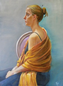 'Woman with Yellow Scarf' 40x30